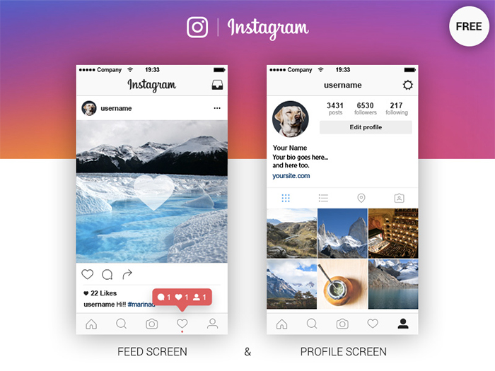 20 best free instagram mockup templates 2018 themelibs for Instagram template photoshop