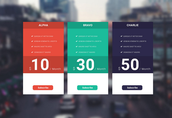 Free Pricing Table PSD Templates