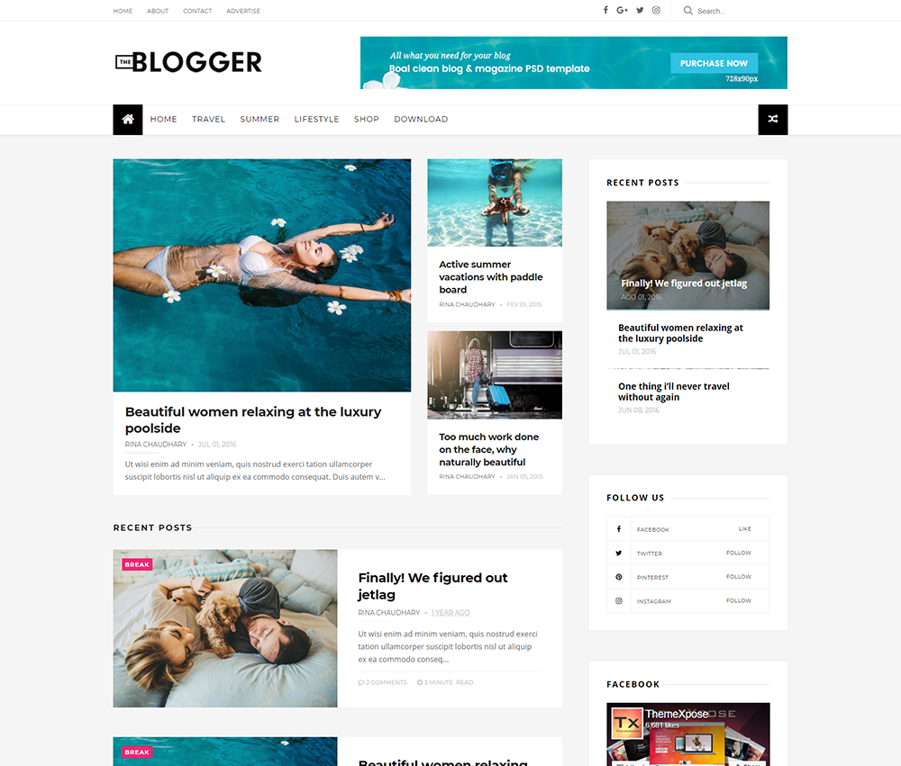 25 best free responsive blogger templates 2018 for Free blog templates wordpress