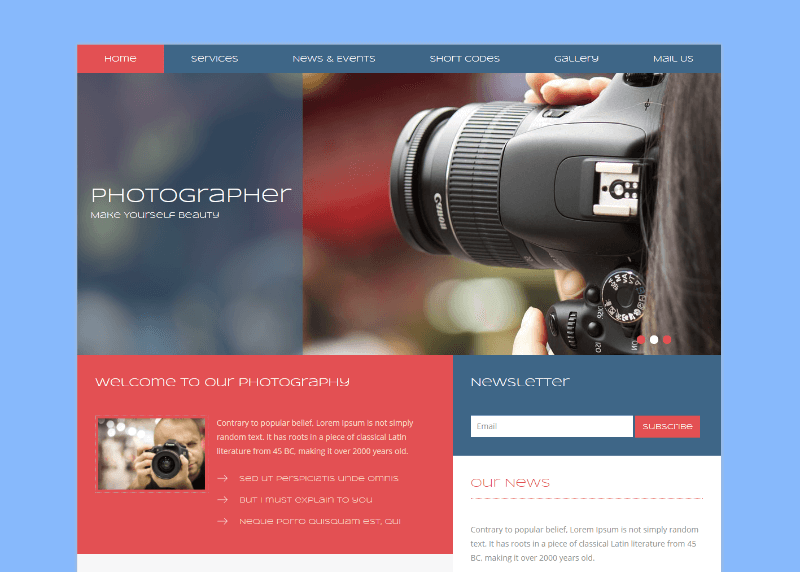 15+ Free Photography Website Templates 2018 - Themelibs